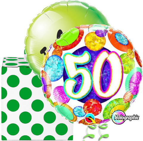 50th Birthday Spotty Glitz Helium Balloon Duo