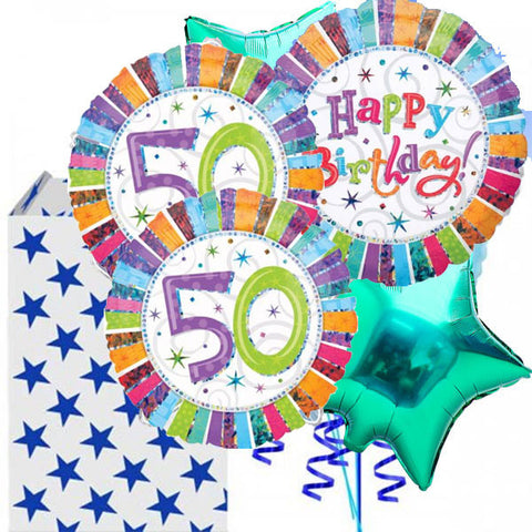 50th Birthday Radiant 5 Balloon Bouquet