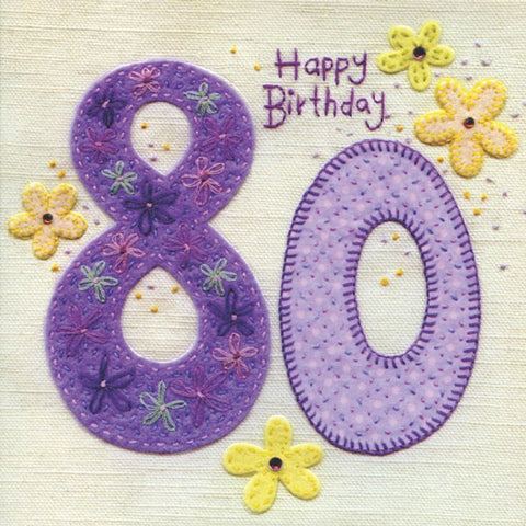 80th Birthday Flowers Greeting Card