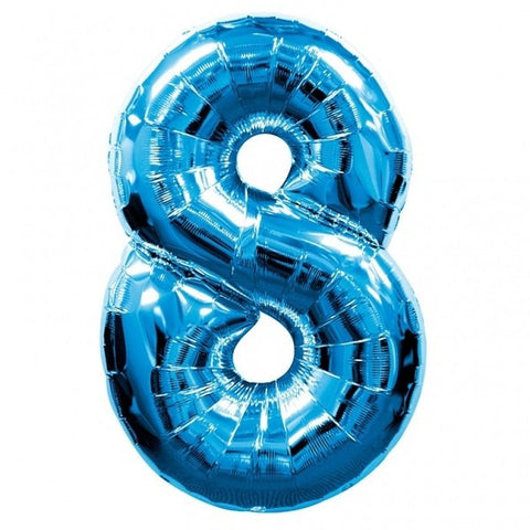 Big Number 8 Blue Helium Foil Balloon