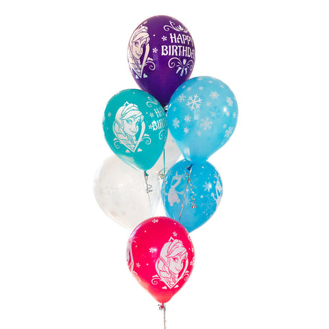 Happy Birthday Disney Frozen Characters and Snowflake Balloon Pack of 8