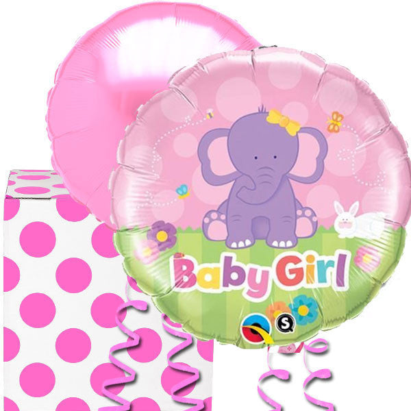 Baby Girl Pink Elephant Helium Balloon in a Box Duo  sc 1 st  Birthday Balloons : baby balloon in a box - Aboutintivar.Com