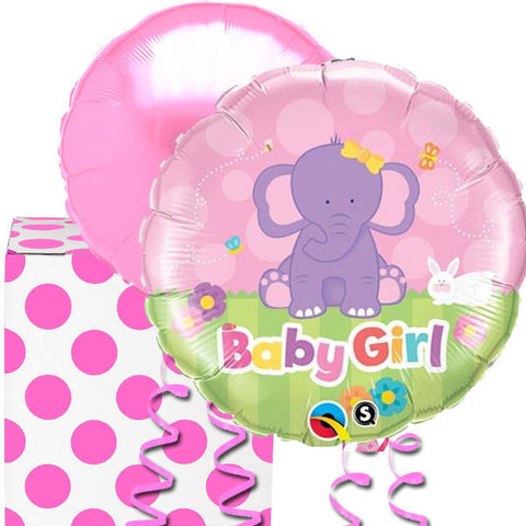 Baby Girl Pink Elephant Helium Balloon in a Box Duo