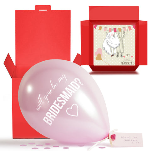 Will You Be My Bridesmaid Balloon in a Box Gift Free 1st Class Delivery