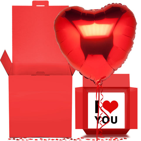 Red Heart of Love Balloon in a Box Gift Free 1st Class Delivery