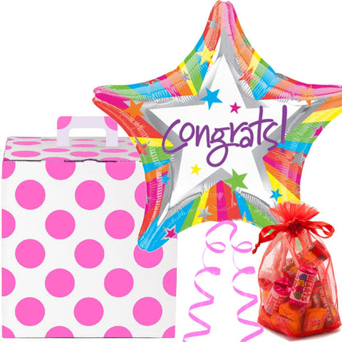 Congratulations Helium Balloon and Bag of Sweeties