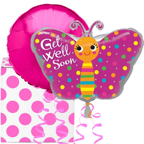 Get Well Butterfly 2 Helium Balloon Bouquet in a Box