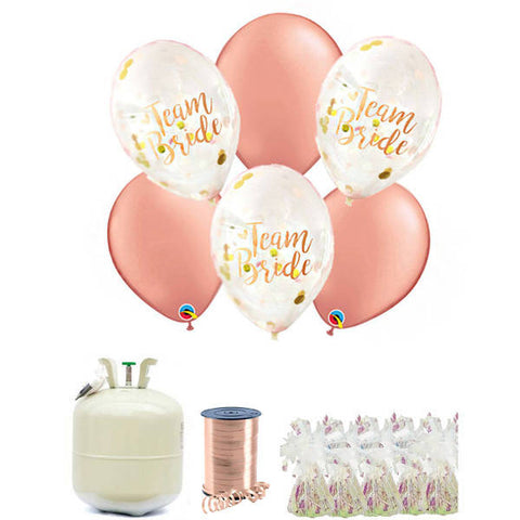 Rose Gold Team Bride Conffetti Balloons Helium Package