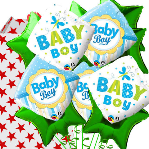 New Baby Boy Green and Blue 15 Helium Filled Foil Balloon Bouquet