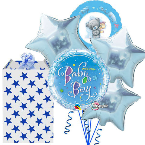 Baby Boy Welcome 5 Helium Foil Balloon Bouquet