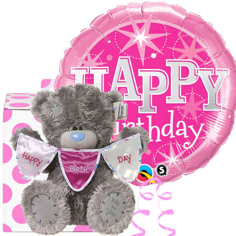 Sparkling Birthday Balloon and 12 inch Tatty Teddy