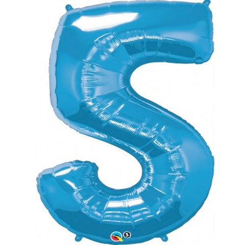 Big Number 5 Blue Foil Balloon