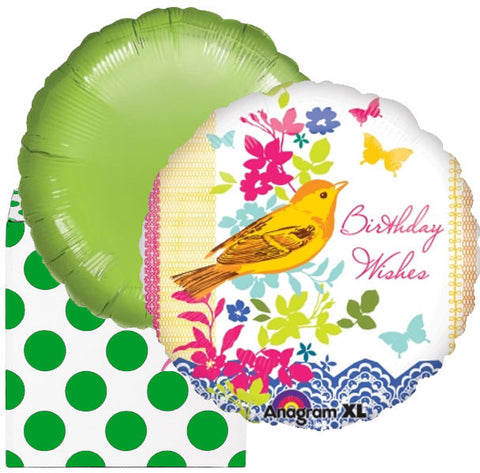 Bird Song Happy Birthday Helium Foil Balloon Duo