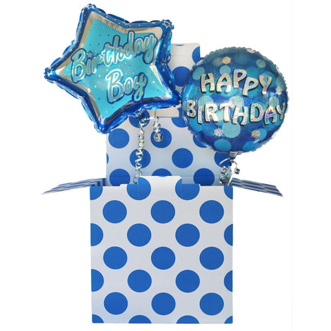 Blue Birthday Boy Balloon in a Box Duo