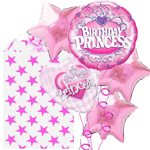 5 Helium Filled Foil Princess Birthday Balloon Bouquet