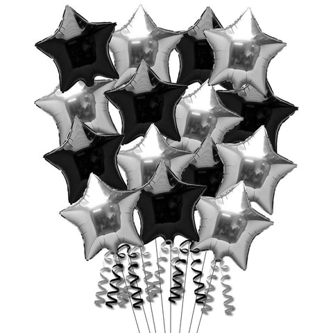 15 Black and Silver Foil Helium Balloons