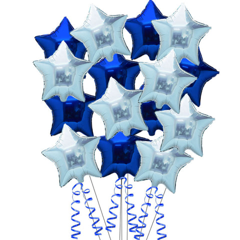 15 Sapphire Blue and Light Blue Star Helium Balloons