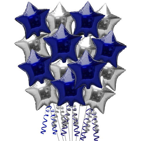 15 Dark Blue and Silver Foil Helium Balloons