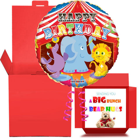 Happy Birthday Circus Balloon in a Box  Free 1st Class Delivery