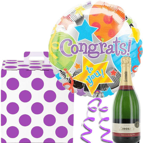 Congratulations Helium Balloon with a Bottle of Cava