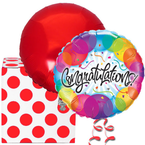Congratulations Red Helium Balloons Duo
