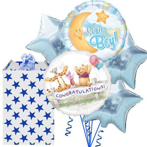 Congratulations New Baby Blue 5 Balloon Bouquet