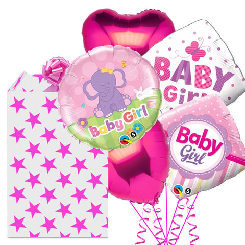Dots and Pins New Baby Girl 5 Balloon Bouquet