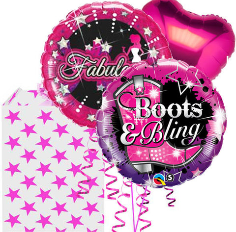 Boots and Bling Fabulous 3 Birthday Helium Foil Balloon Bouquet