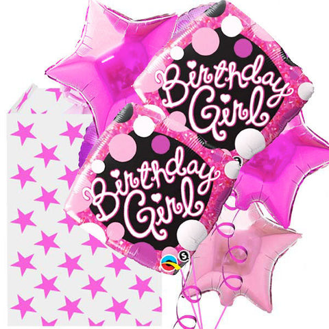 5 Helium Filled Foil Fabulous Birthday Girl Balloon Bouquet
