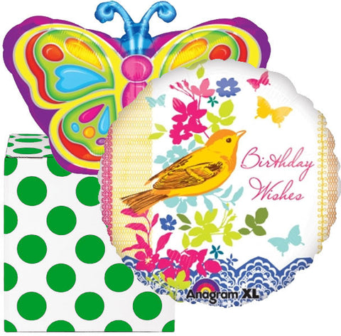 Happy Birthday Butterfly Shape Helium Foil Balloon Duo