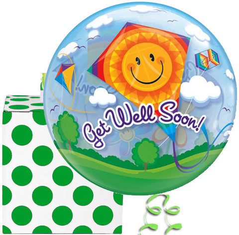Get Well Plastic Bubble Balloon in a Box