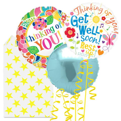 Get Well Thinking of You 3 Helium Balloon Bouquet