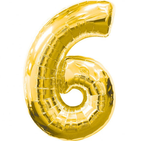Big Number 6 Gold Foil Balloon