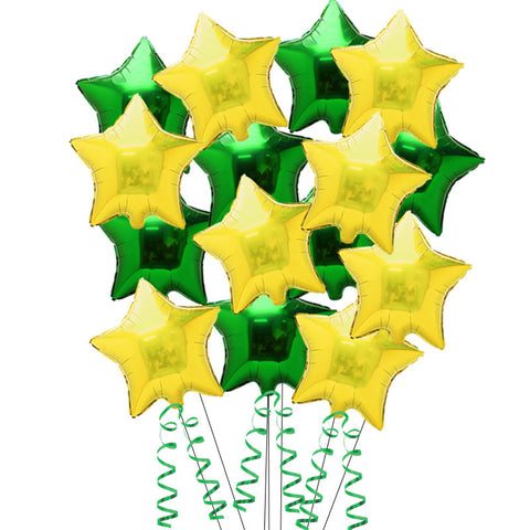 15 Gold and Green Star Foil Helium Balloons