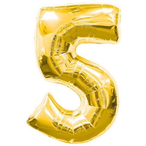 Big Number 5 Gold Foil Balloon