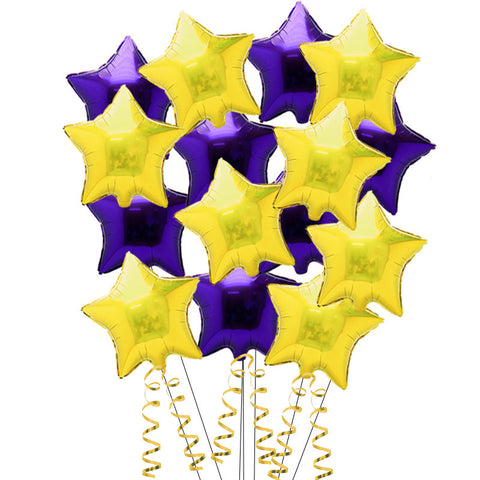15 Purple and Gold Star Foil Helium Balloons