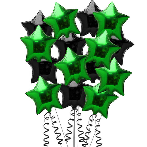 15 Black and Green Star Foil Helium Balloons