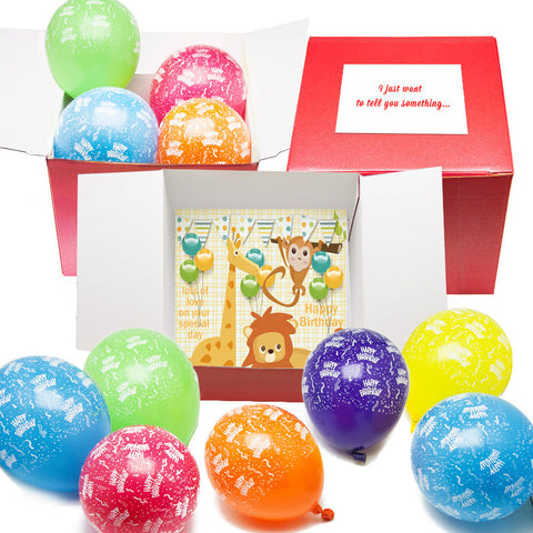 Birthday Jungle Box of Air Filled Balloons - Free Postage