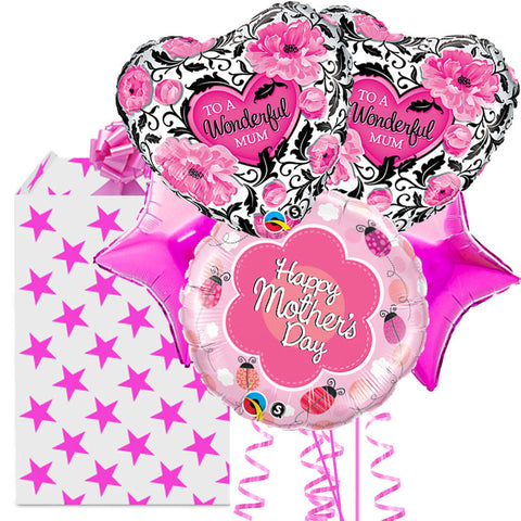 5 x Pink Helium Foil Balloon Mother's Day Bouquet