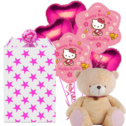 Hello Kitty Mega Helium Balloon Bunch and Ted Bear Gift