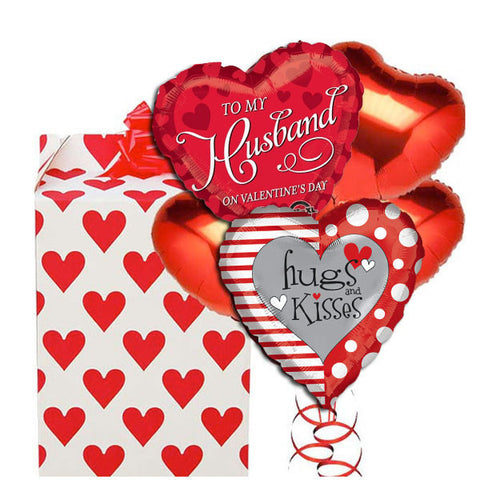 To My Valentine Husband 5 Love Balloon Bouquet
