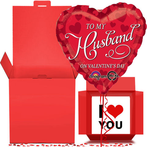 Valentine Husband Balloon in a Box Gift Free 1st Class Delivery