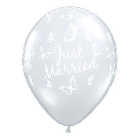 "5 x 11"" Diamond Clear Butterfly Just Married Balloons"