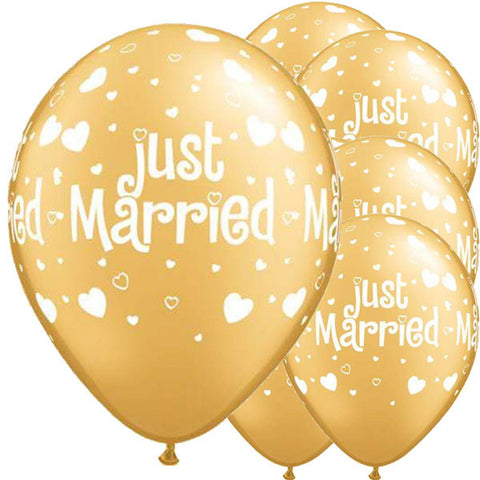 25 x Gold Just Married Latex Balloons
