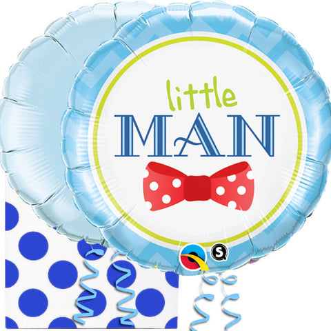 Little Man New Baby Boy Balloon in a Box Duo