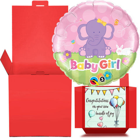 New Baby Girl Balloon in a Box  Free 1st Class Delivery