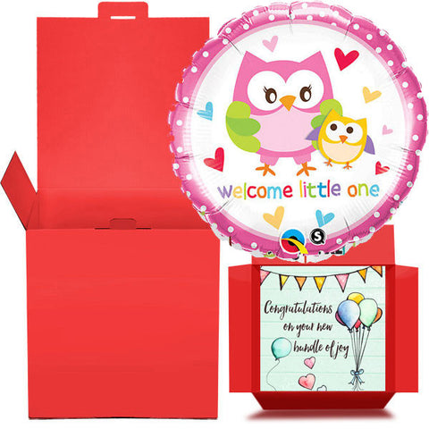 Welcome Little One Balloon in a Box  Free 1st Class Delivery