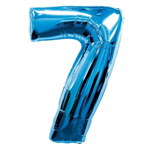 Big Number 7 Blue Helium Foil Balloon