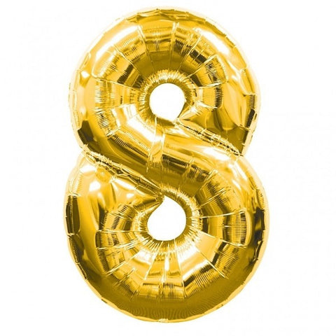 Big Number 8 Foil Helium Balloon Gold