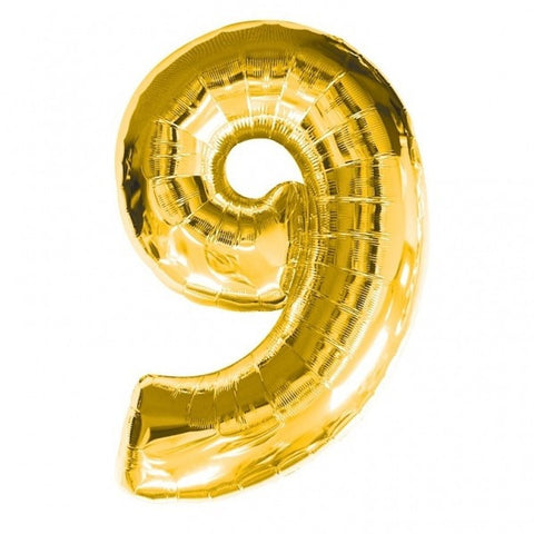 Big Number 9 Gold Helium Foil Balloon